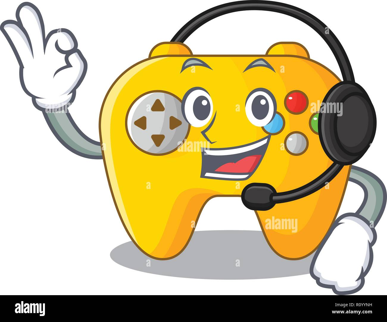 With headphone retro computer game control on mascot Stock