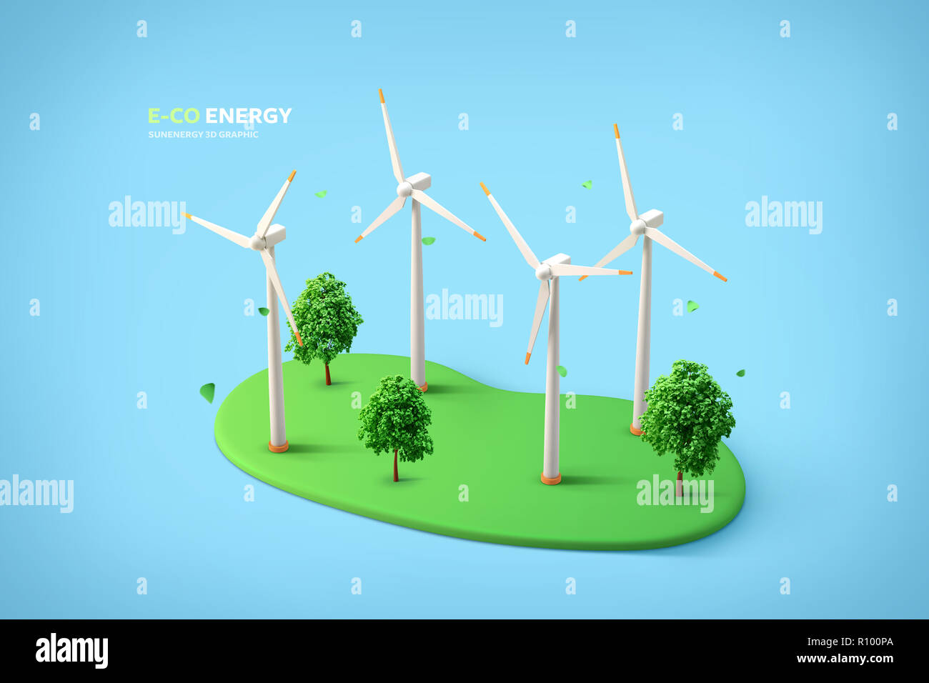 Graphic design of Eco power, solar panels, wind turbines and so on