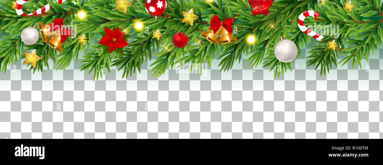 Abstract Holiday New Year And Merry Christmas Border On Transparent Background Vector Illustration Stock Vector Image Art Alamy