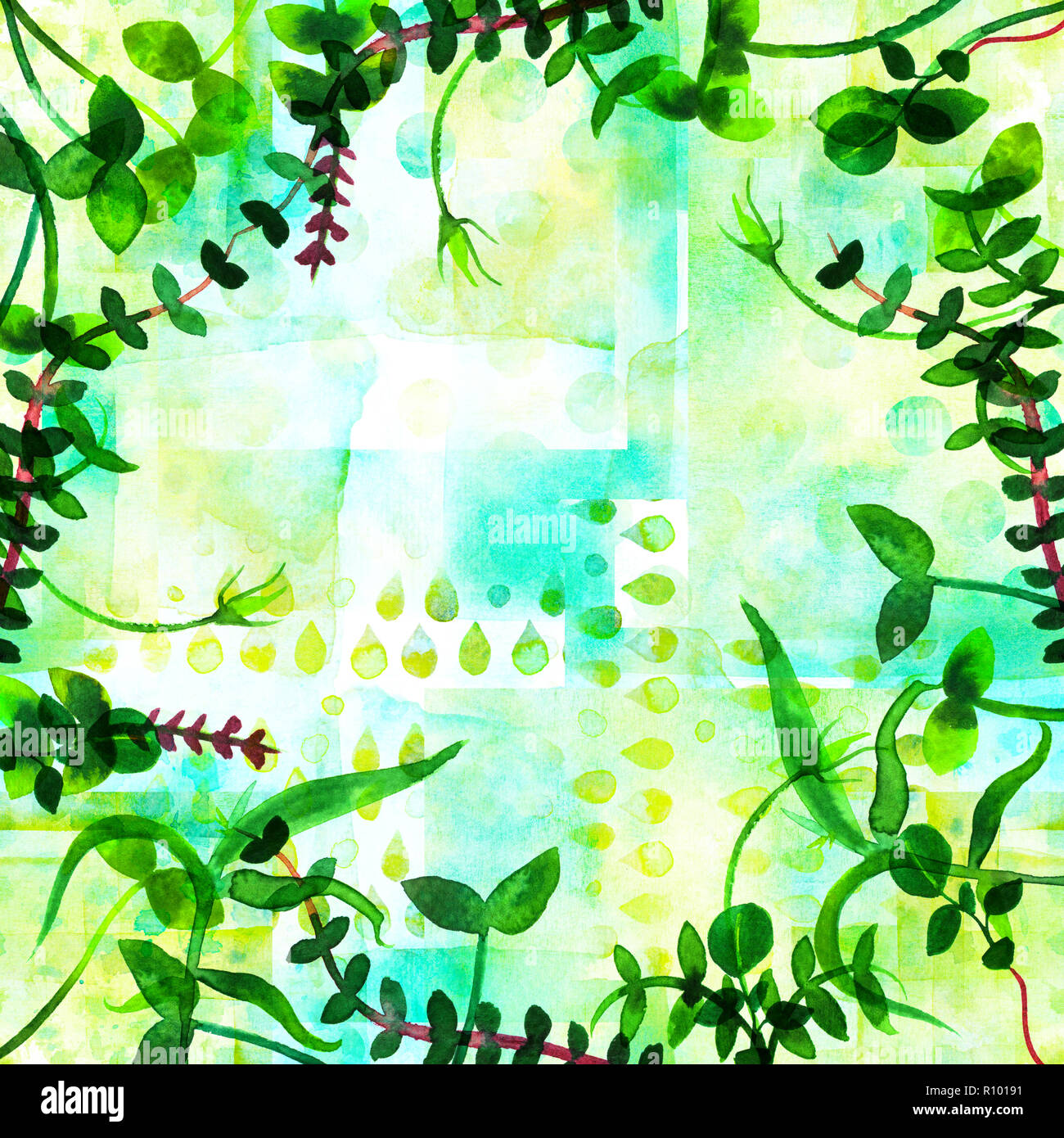 A frame with fresh green sprouts and copy space. Watercolor branches and leaves, forming a border for a spring design with a place for text - Stock Image