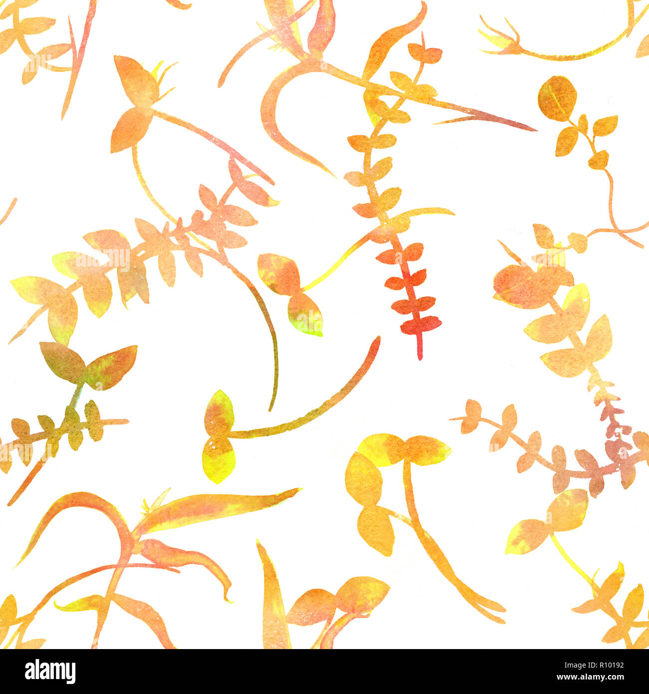 An autumn seamless pattern with yellow watercolor plants, branches and leaves, a golden fall repeat print - Stock Image