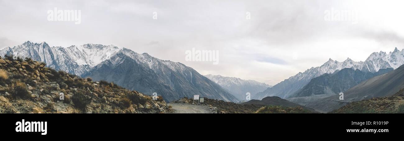 Panoramic view of snow capped mountains in Karakoram range. Passu, Gilgit-Baltistan, Pakistan. - Stock Image