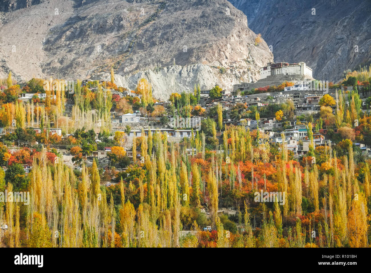 Baltit fort in autumn. Karimabad, Hunza valley, Pakistan. - Stock Image