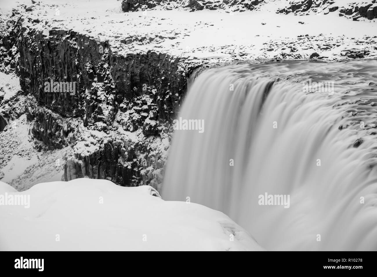 Amazing Iceland in winter - breathtaking scenery and frozen landscapes - incredible black and white images from iconic locations Stock Photo