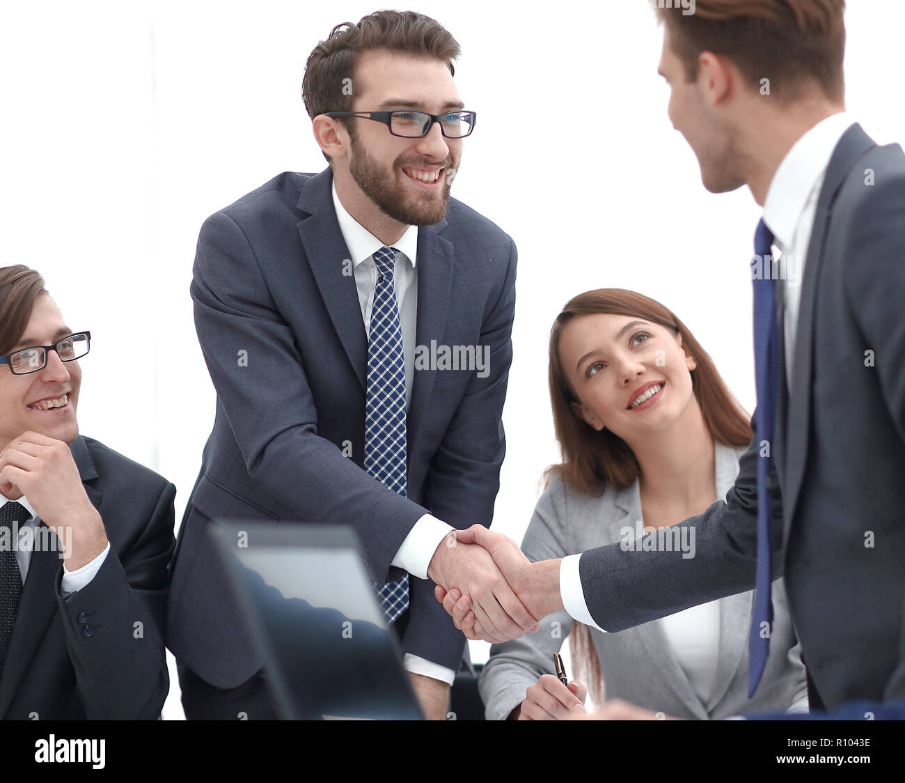 businessman welcoming the business partner - Stock Image