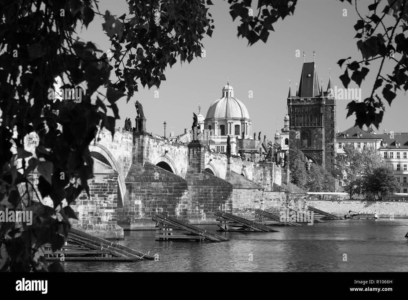Praghe - The Charles bridge. - Stock Image