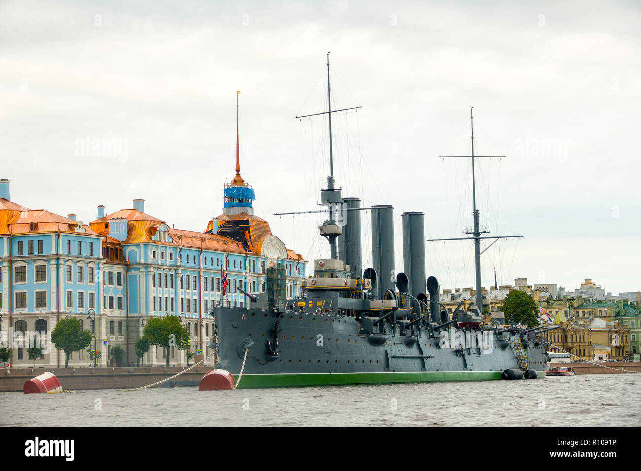 Linear cruiser Aurora, the symbol of the October revolution, St. saint Petersburg, Russian Sankt Peterburg, formerly (1914–24) Petrograd and (1924–91) Stock Photo