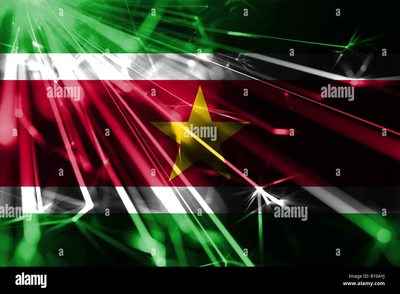 Suriname shining fireworks sparkling flag. New Year 2019 and Christmas futuristic shiny party concept flag - Stock Image