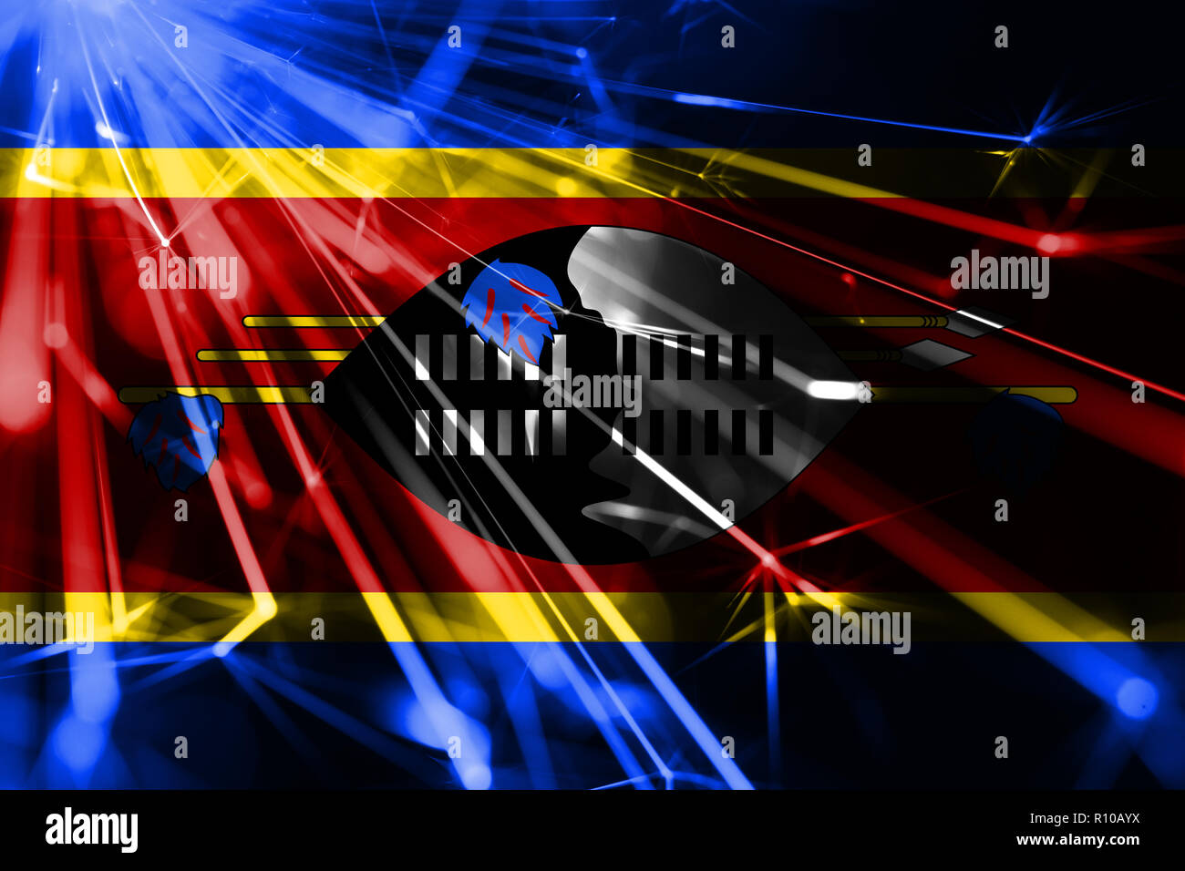 Swaziland shining fireworks sparkling flag. New Year 2019 and Christmas futuristic shiny party concept flag Stock Photo