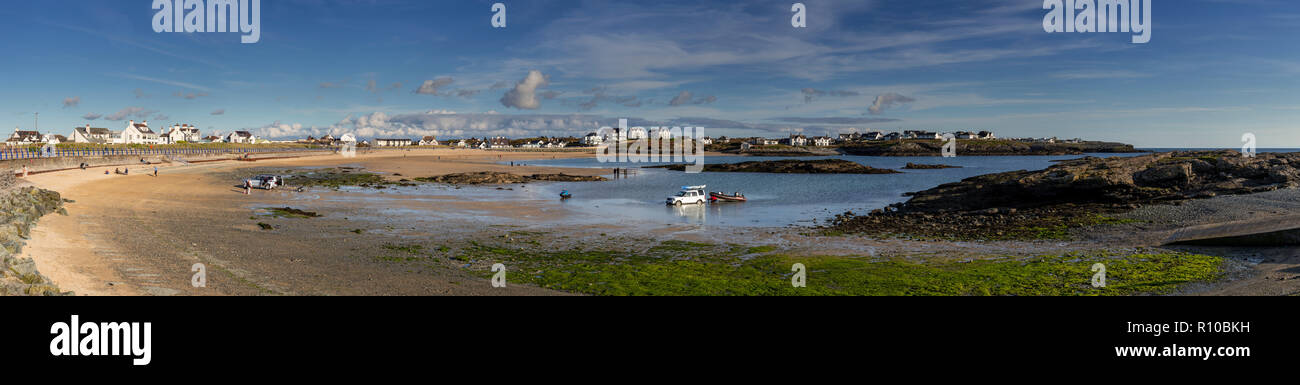 Panorama of Trearddur Bay on the coast of Anglesey, North Wales - Stock Image