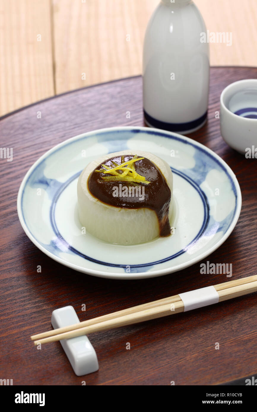 furofuki daikon, simmered japanese radish served with miso sauce, vegetarian cuisine - Stock Image