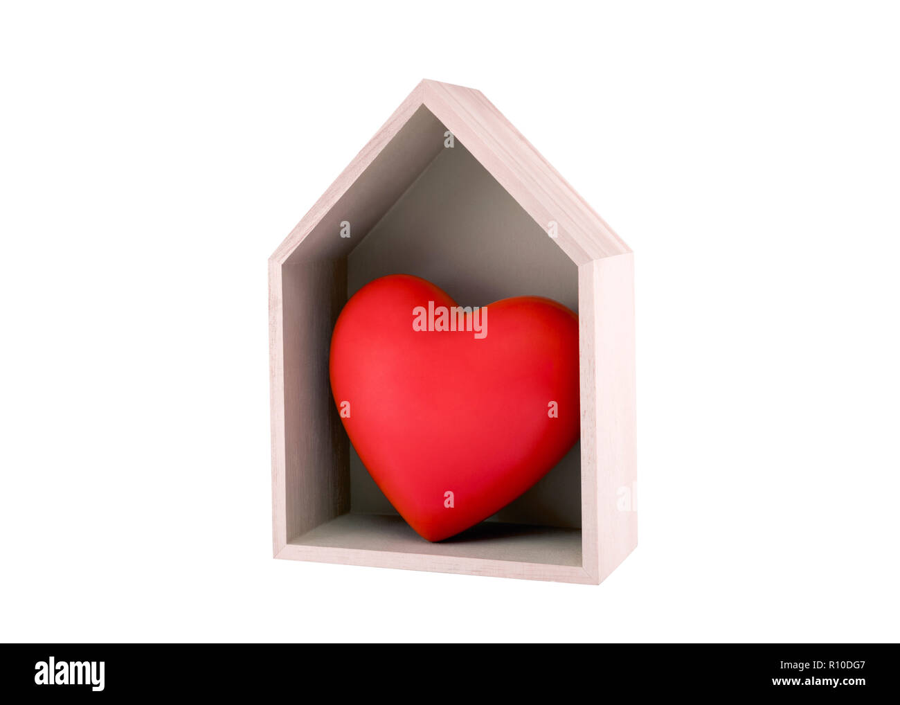 Wooden house with red heart isolated on white with clipping path - Stock Image