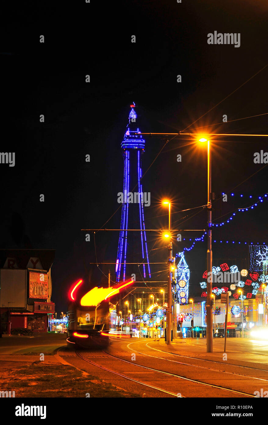 Blackpool Tower and tram during the annual illumination Stock Photo