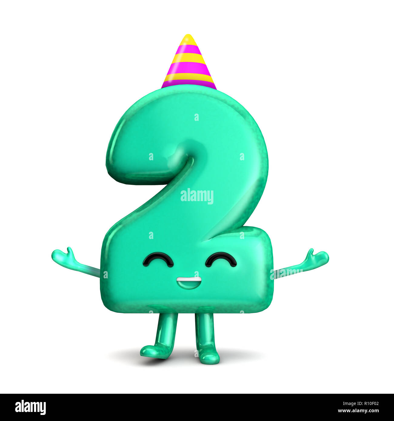 Happy 2nd Birthday Cute Party Character With Hat 3D Rendering
