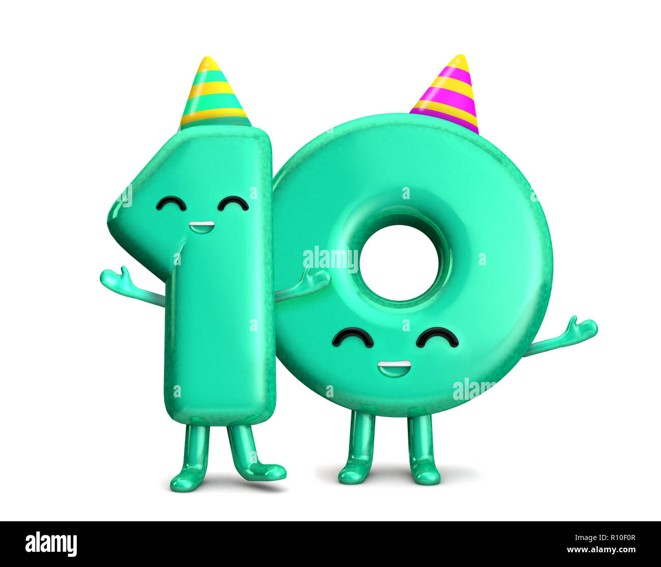 Happy 10th Birthday Cute Party Character With Hat 3D Rendering