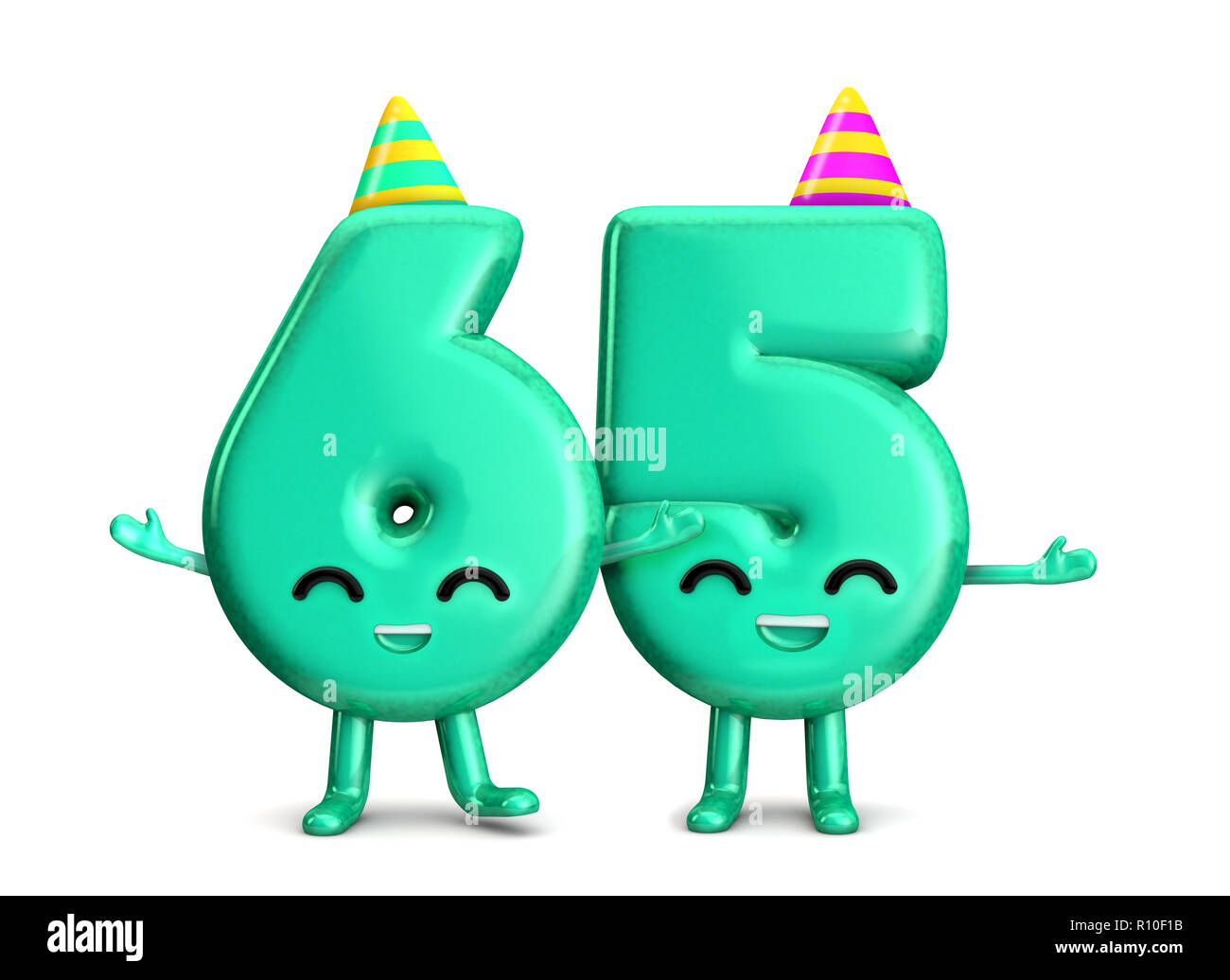 Happy 65th Birthday Cute Party Character With Hat 3D Rendering