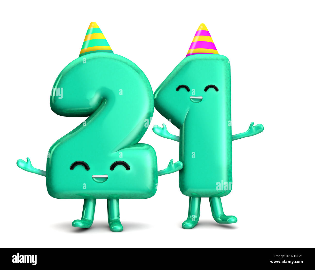 Happy 21st Birthday Cute Party Character With Hat 3D Rendering