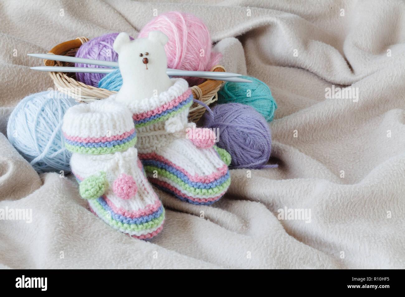 """Handmade knitting baby slippers /""""Berries/"""" 1 pair"""