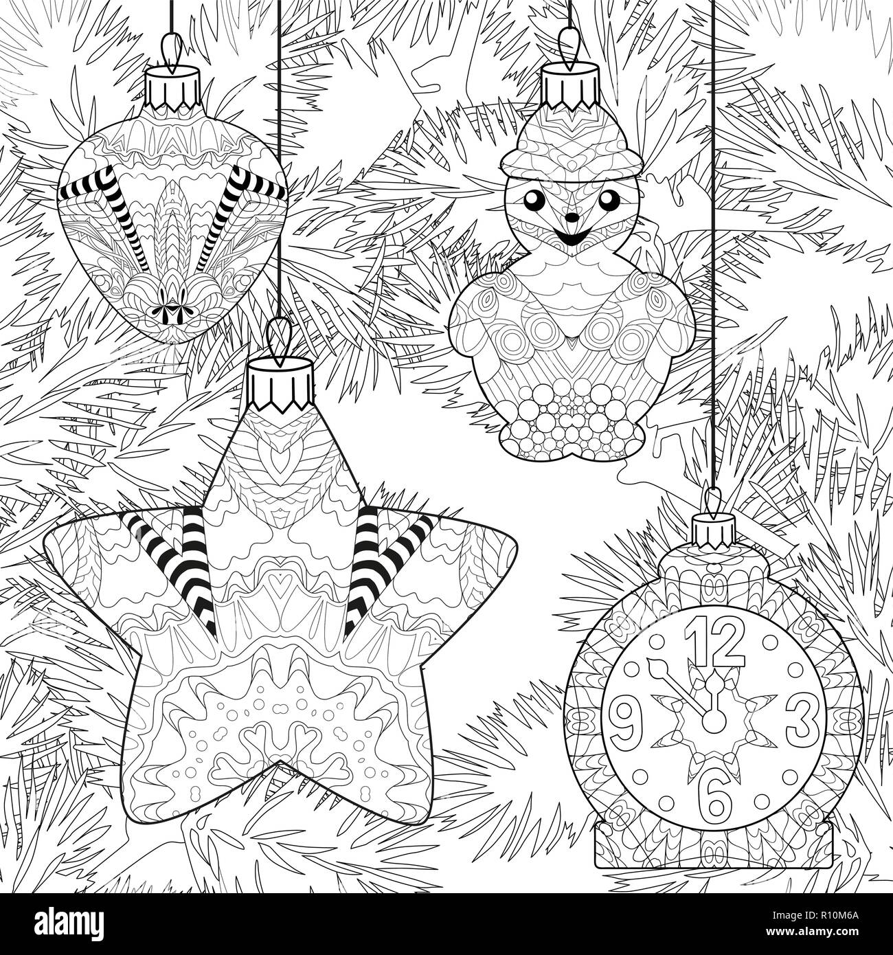Zentangle stylized Christmas decorations with spruce branches. Hand Drawn lace vector illustration - Stock Vector