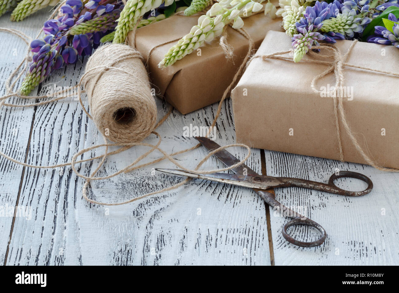 bouquet of the blue lupine flowers on a wooden table Stock Photo
