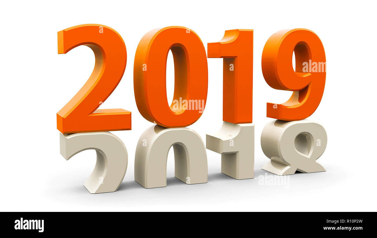 2018-2019 change represents the new year 2019, three-dimensional rendering, 3D illustration Stock Photo