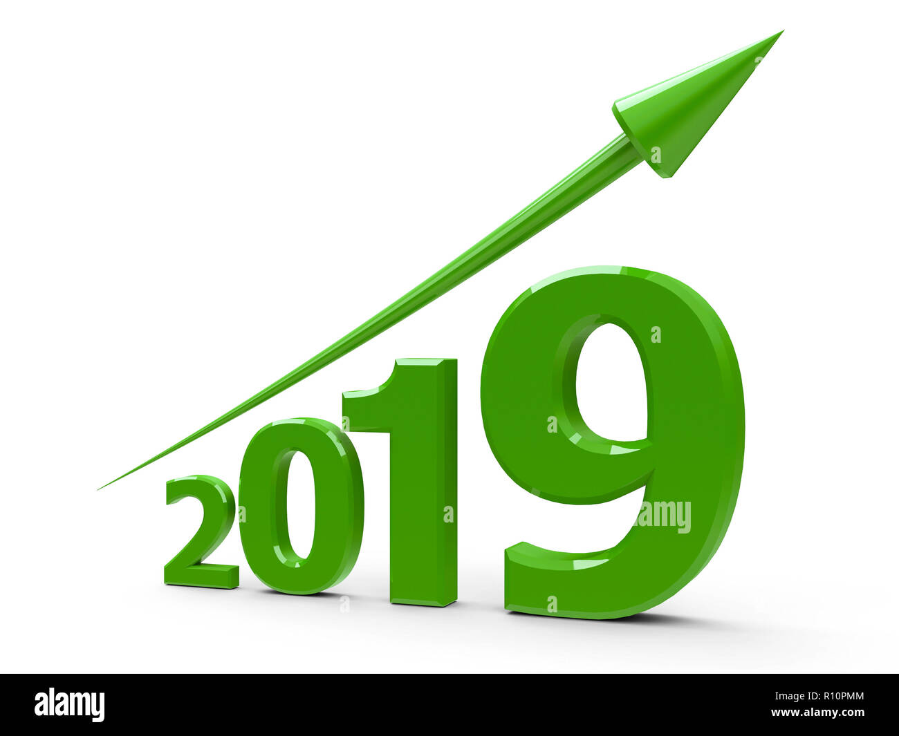 Green arrow up represents the growth in 2019 year, three-dimensional rendering, 3D illustration - Stock Image