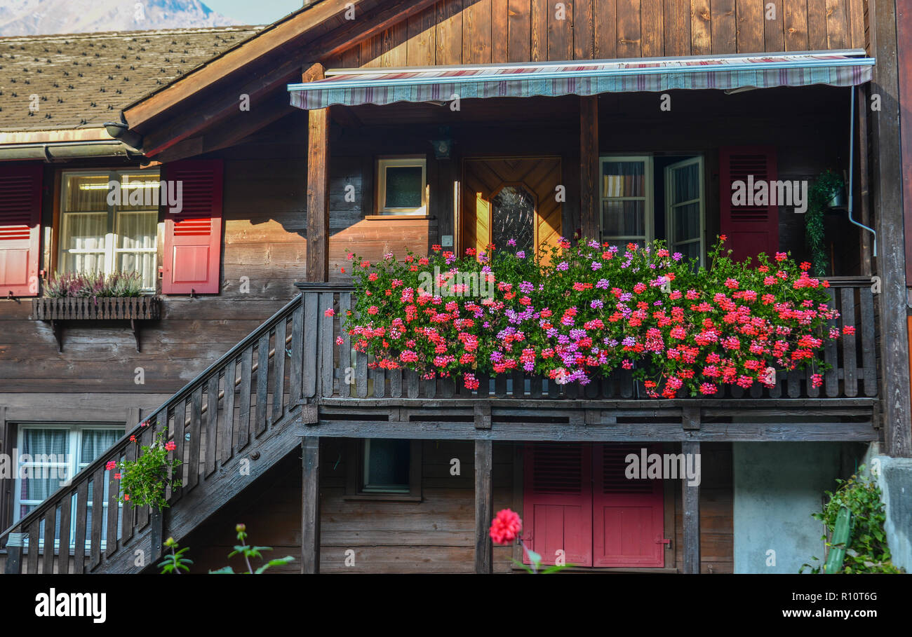 Details Of The Wooden House At Small Village In Interlaken Switzerland Stock Photo Alamy