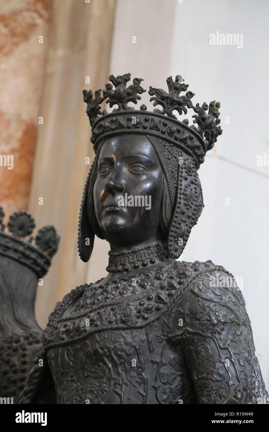 Joanna of Castile (1479-1555) The Mad. Statue, 1528. Artists: Sesselschreiber and Kolderer. Court Church. Innsbruck. Austria. - Stock Image