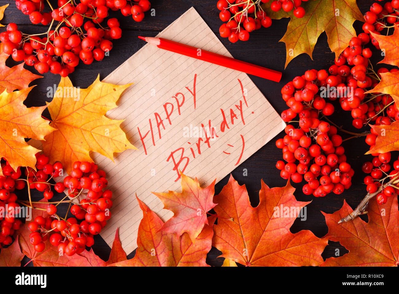 Autumn Label with the Words Happy Birthday on it Stock Photo