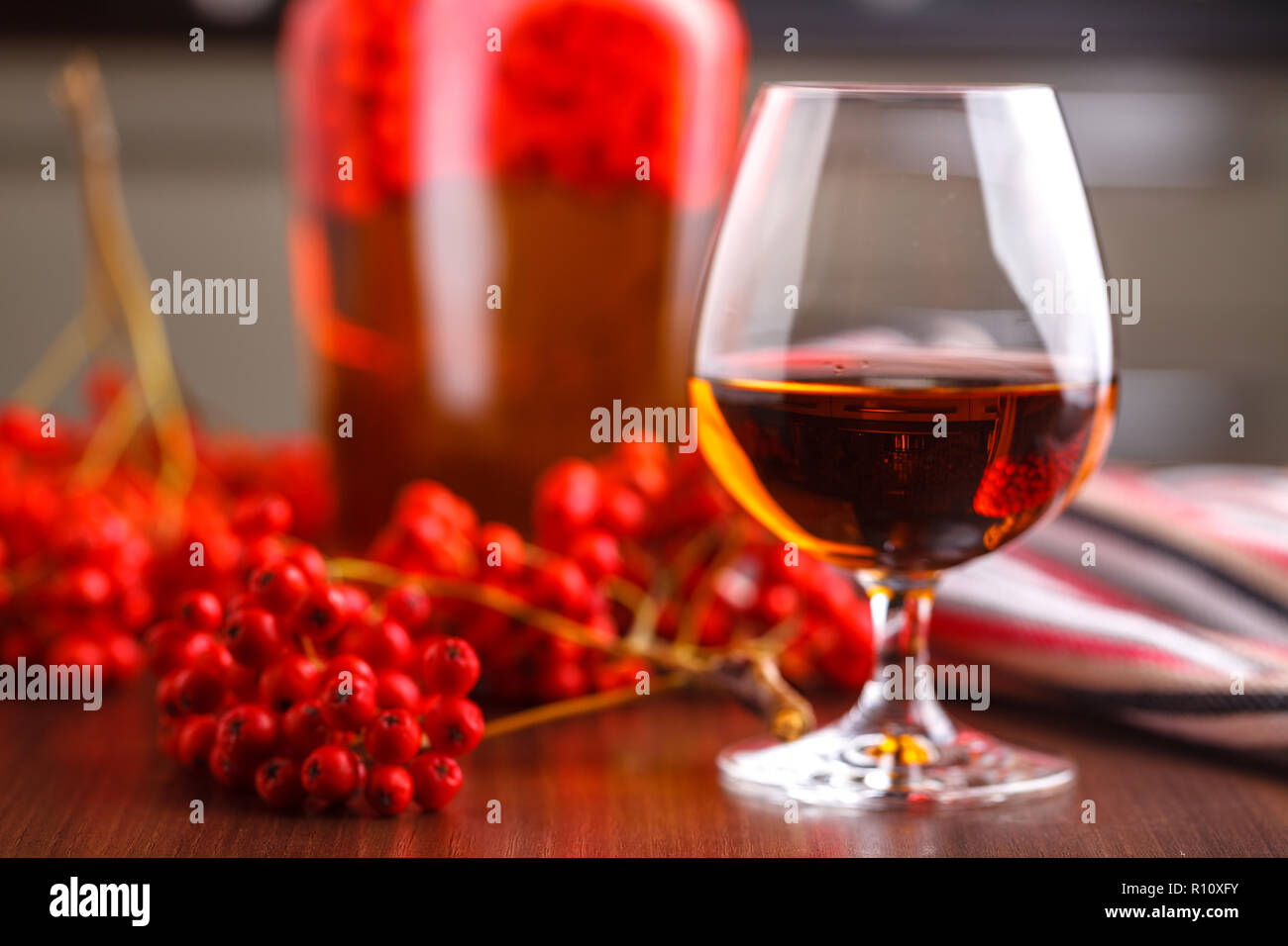 Autumn berry alcohol drink, selfmade home - Stock Image