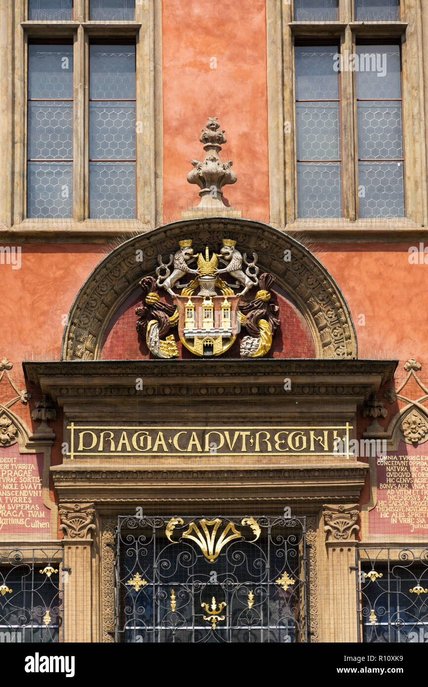 Old Town Hall with capital of the realm inscription, Prague - Stock Image