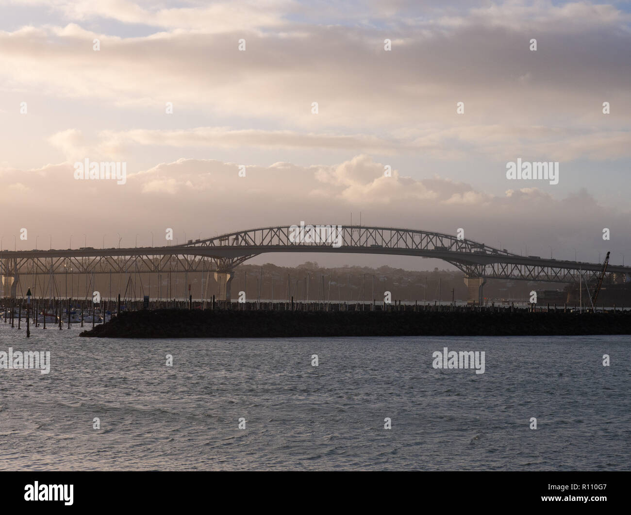 Auckland Harbour Bridge In The Early Evening - Stock Image