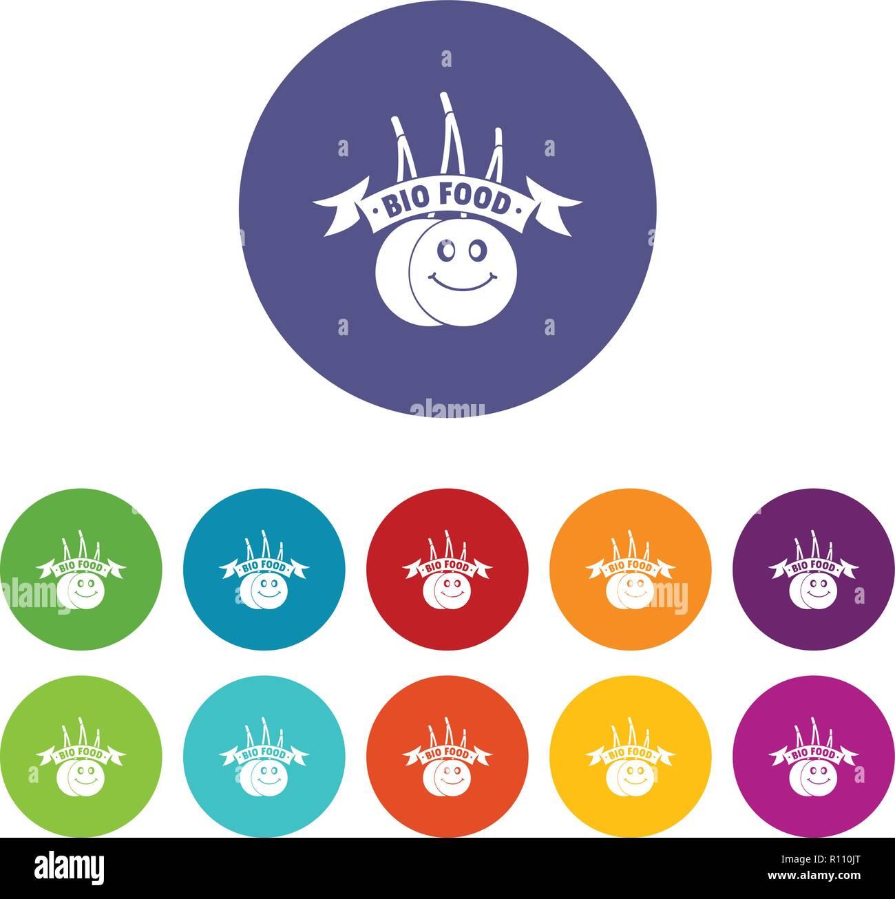 Bio food icons set vector color Stock Vector Art
