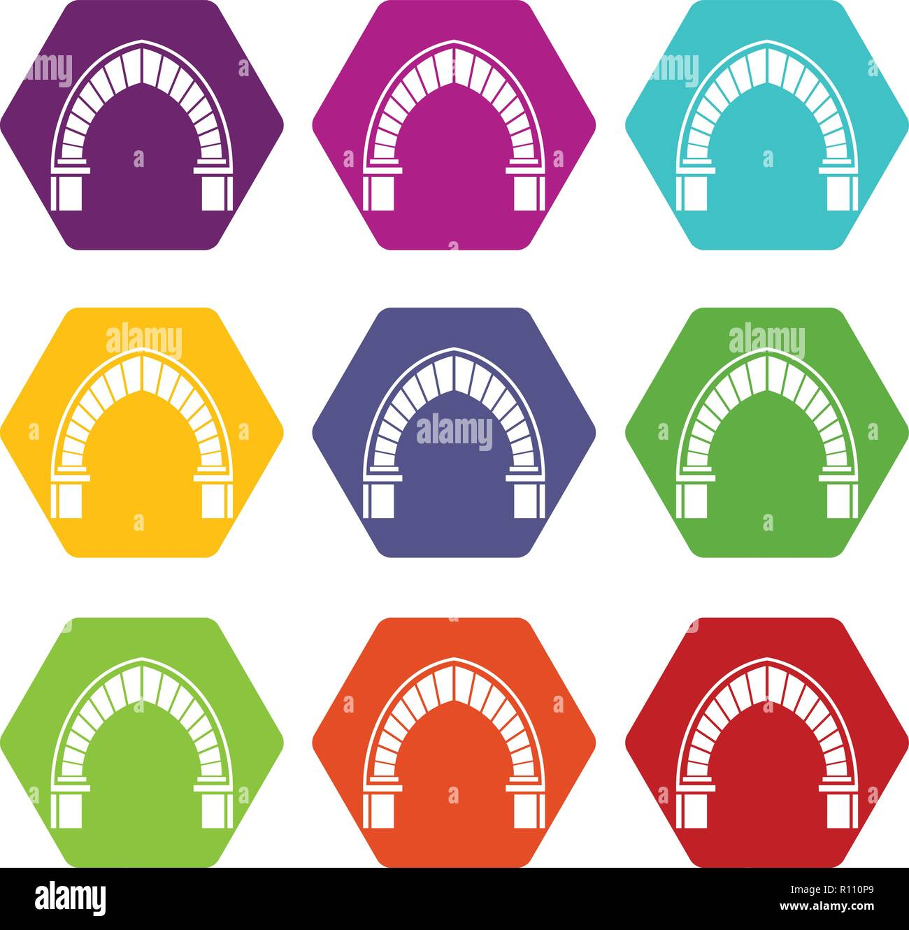 Stone arch icons set 9 vector - Stock Image