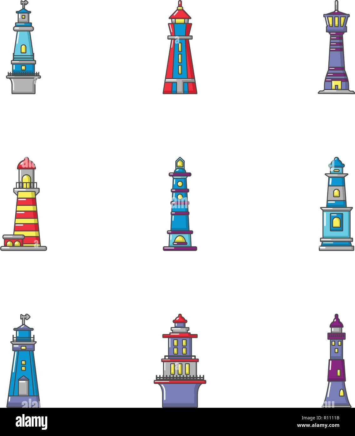 Guiding light icons set, flat style - Stock Image