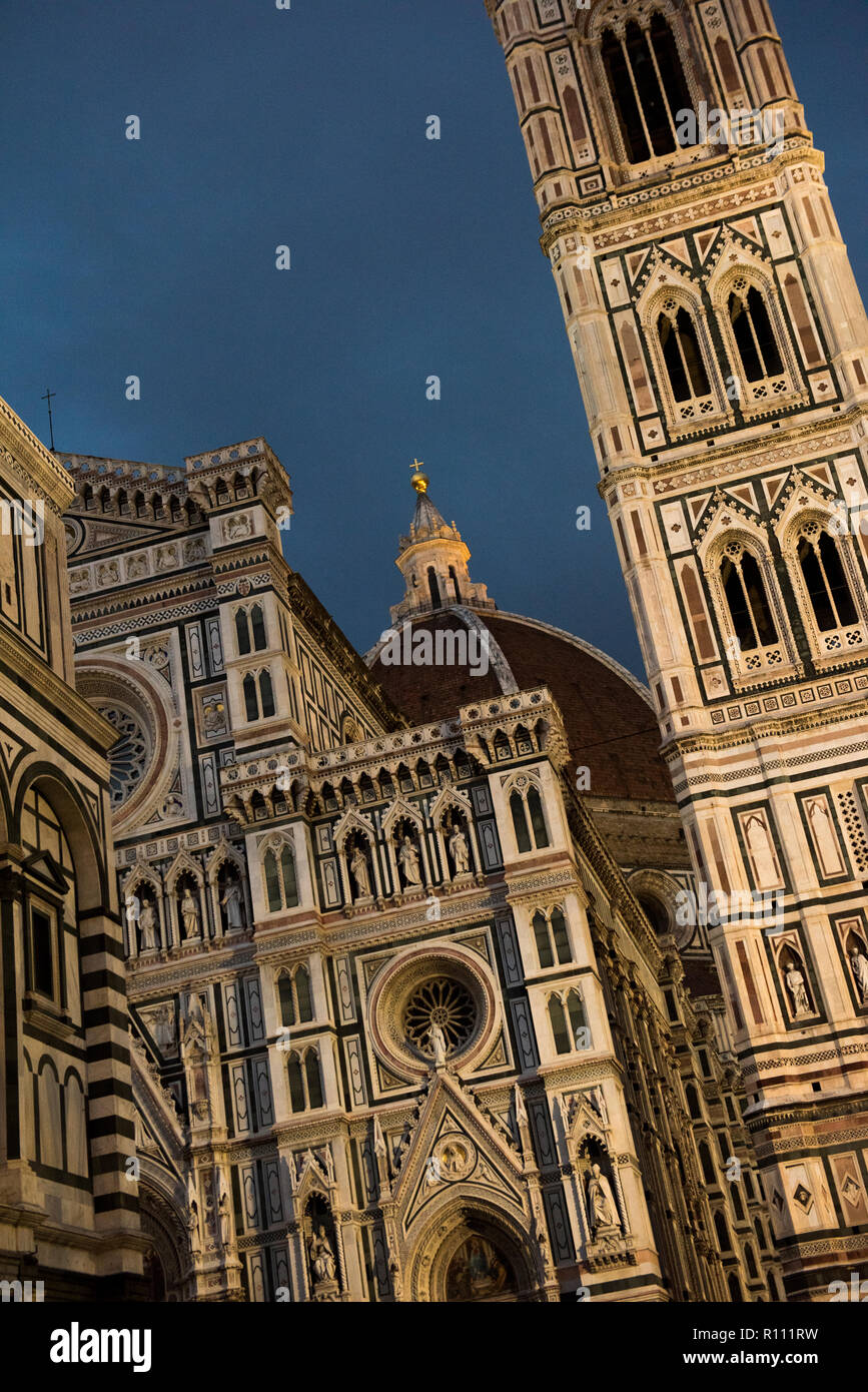 Blue Hour dusk light at the Cathedral in Florence, Italy Europe - Stock Image