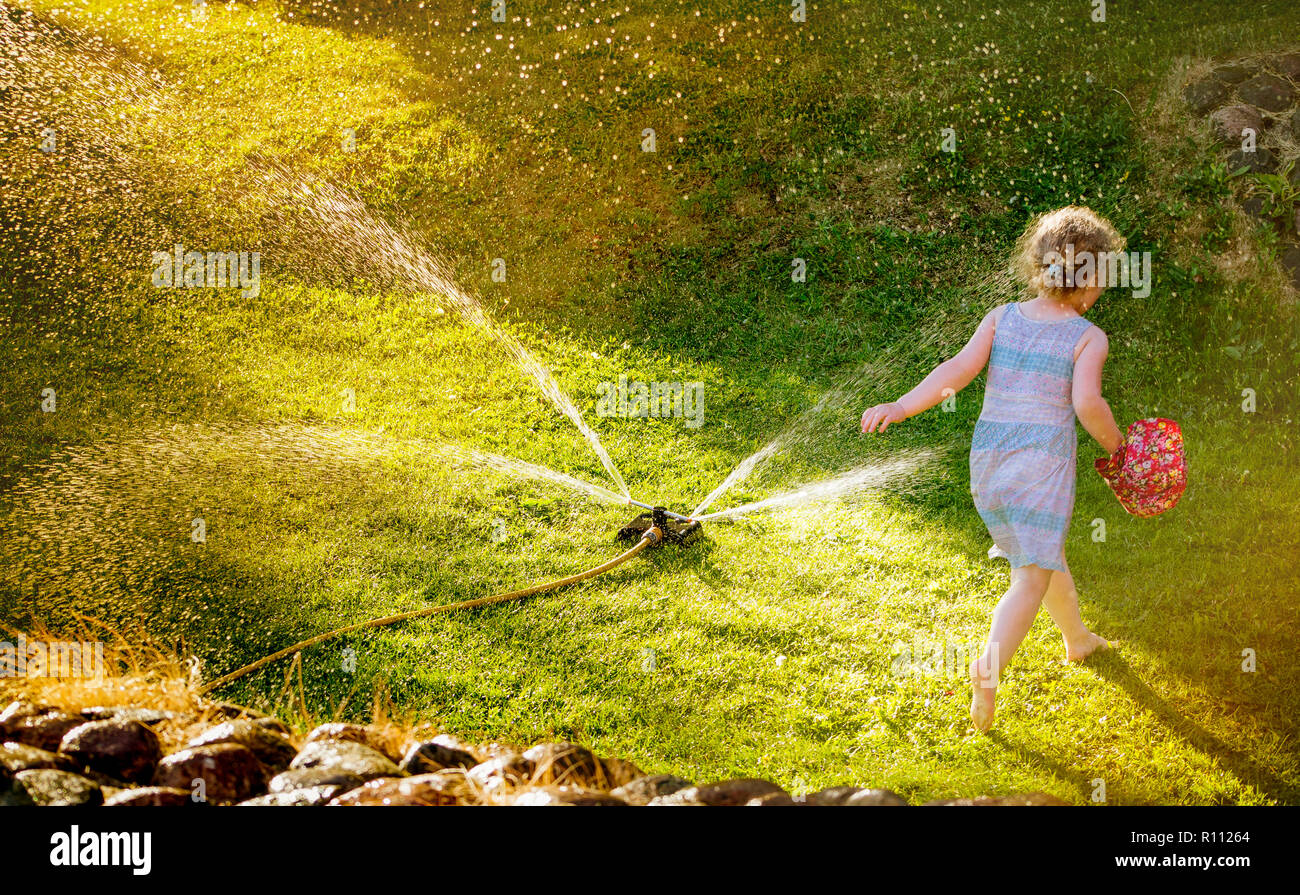 Irrigation sprinkler device for irrigation of home lawn, grass working and happy playful girl running through garden sprinkler summer night. Stock Photo
