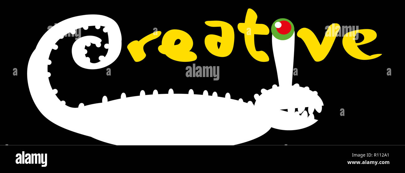 Creative word.  Creative word illustration with chameleon. - Stock Image