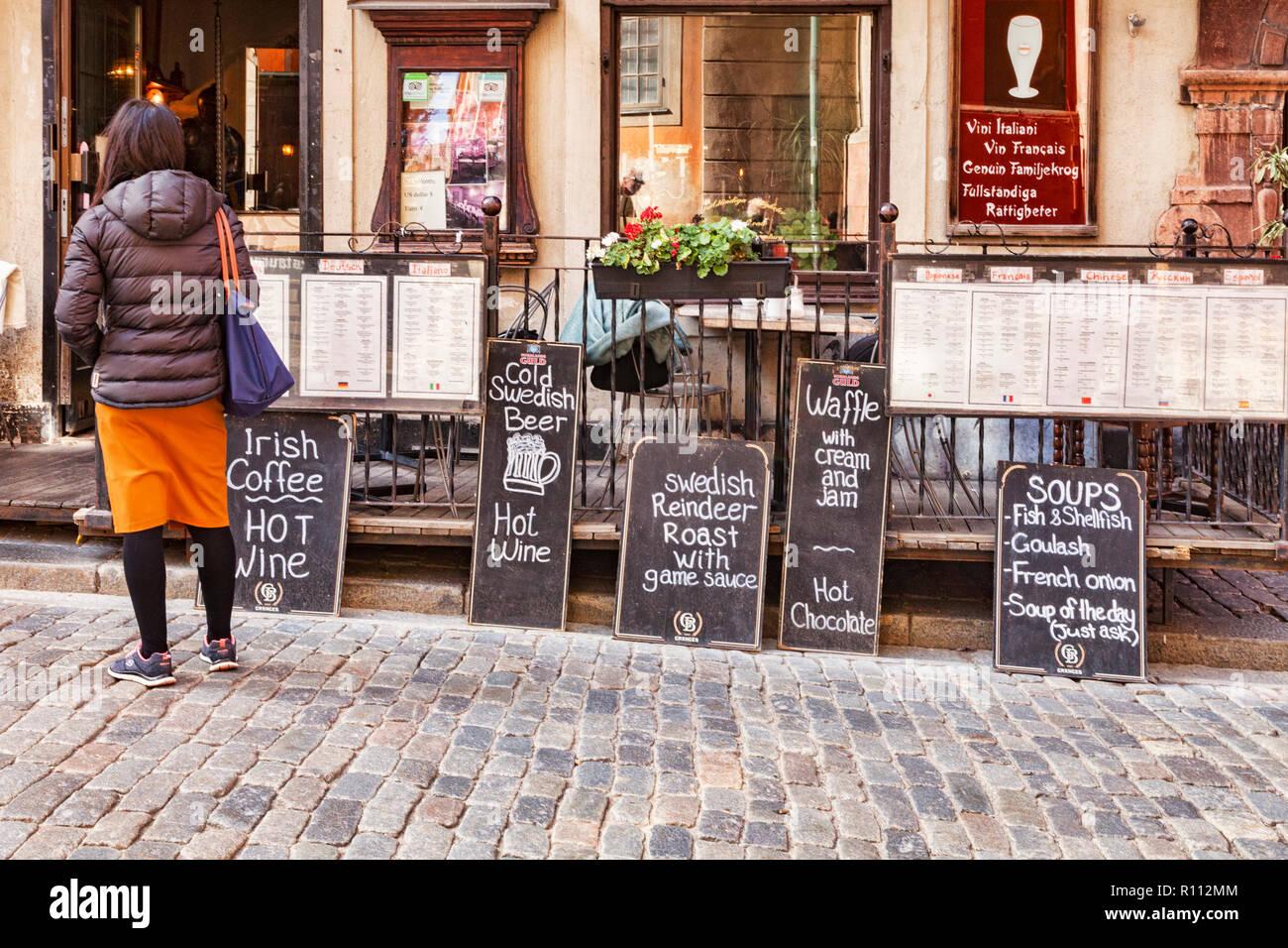 16 September 2018: Stockholm, Sweden - Blackboards outside a Swedish restaurant, offering Swedish Reindeer Roast. - Stock Image