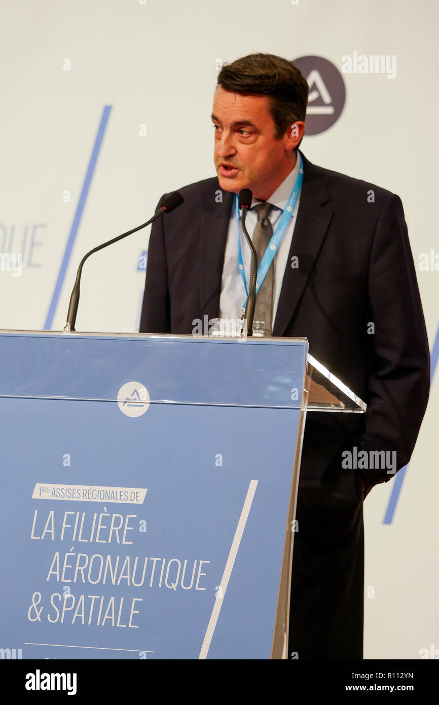 Vincent Beynier, General Director of Production Sites, Hexcel France, talks at Regional meetings of Aeronautics and Space Industry, Lyon, France - Stock Image