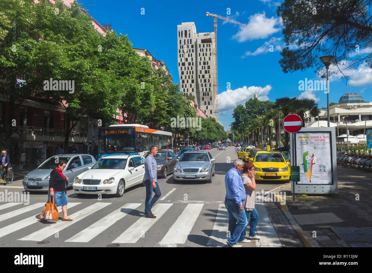 Tirana street near Rinia park, Tirana, Albania - Stock Image