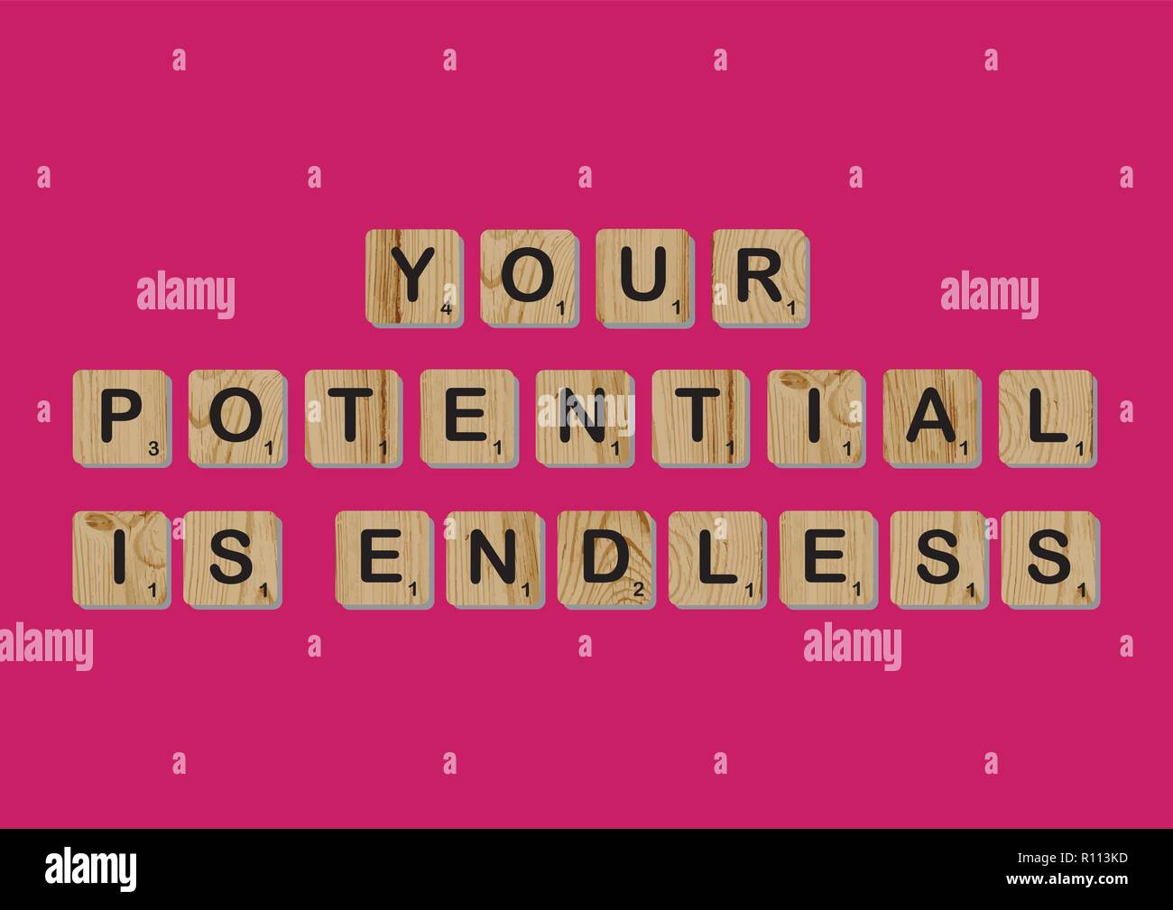 Scrabble tiles spells out   Motivational quote Scrabble Blocks Letters Pink Red Background Life quote Induce Alphabet - Stock Vector