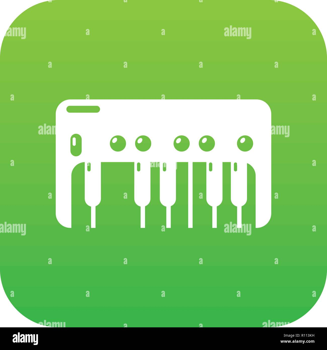 Synthesizer piano icon green vector - Stock Image