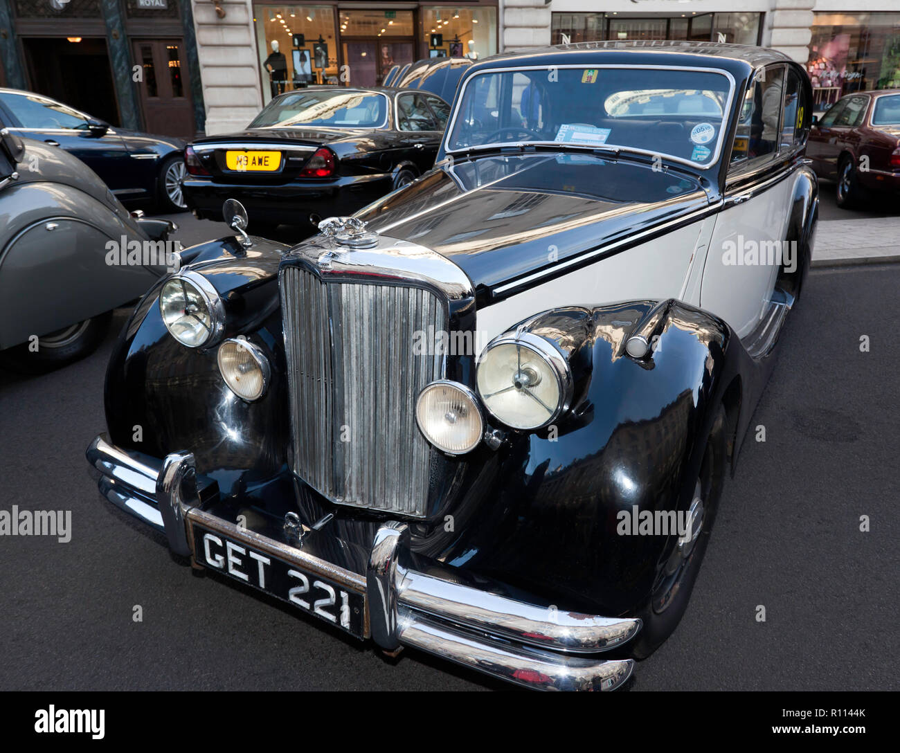 Three-quarter front view of a 1950 Jaguar Mark V Saloon, on display at the Regents Street Motor Show 2018 Stock Photo