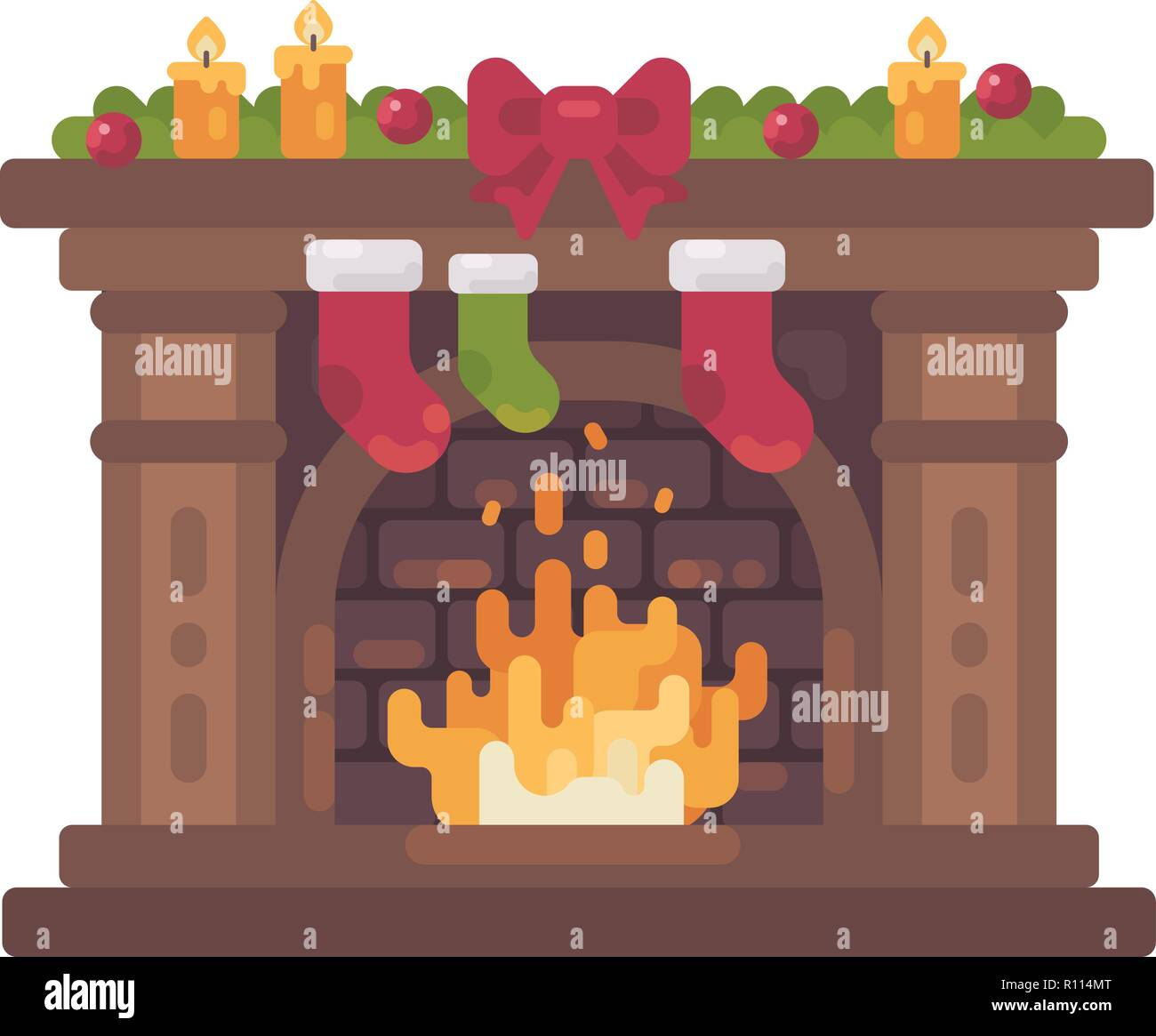 Decorated Christmas fireplace with stockings for presents flat illustration - Stock Vector