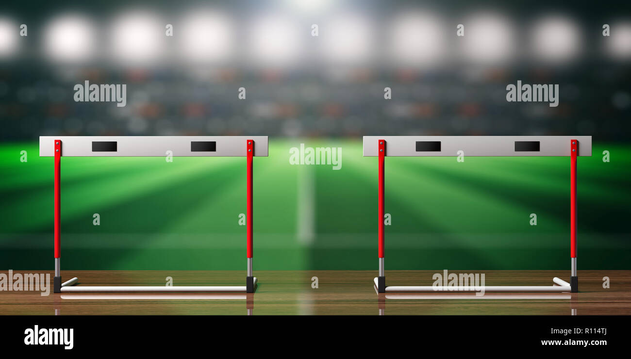 Obstacles concept. Front view of track field hurdles, against stadium background, 3d illustration. - Stock Image