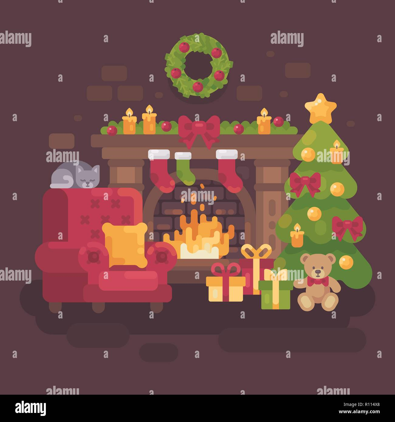 Cozy decorated Christmas room with a fireplace, a red armchair, a Christmas tree with presents and a sleeping cat. Holiday flat illustration - Stock Vector