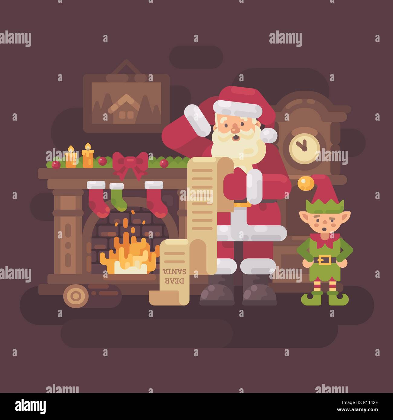 Confused Santa Claus and elf reading a very long kids letter in a cozy room with a fireplace and grandfather clock. Christmas flat illustration - Stock Vector