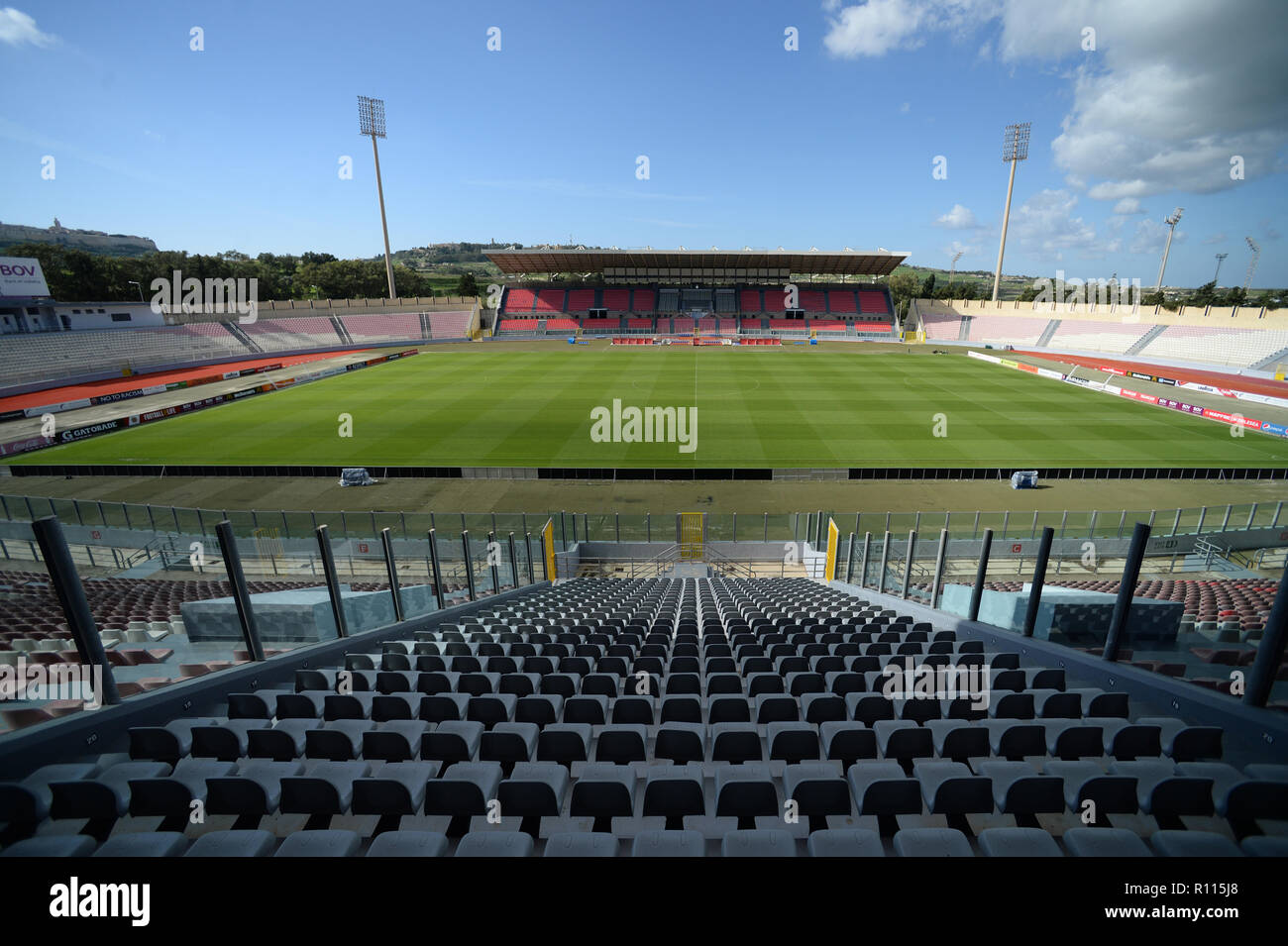 Malta's National football stadium in Ta'Qali, grass pitch used for all International UEFA and FIFa matches for the national soccer team - Stock Image