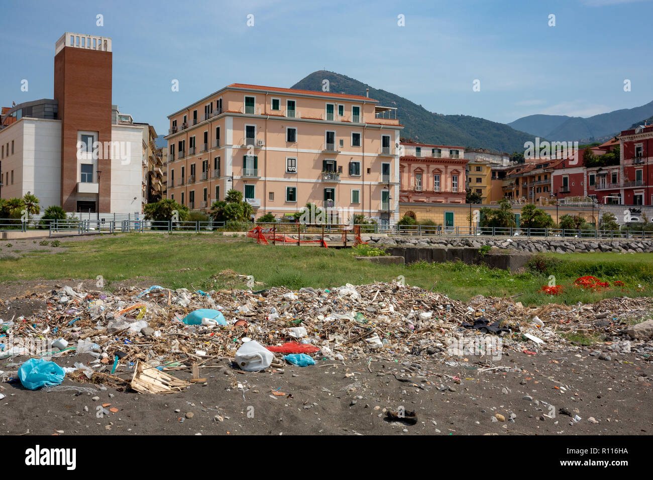 Polluted beach in castellammare di stabia Italy - Stock Image